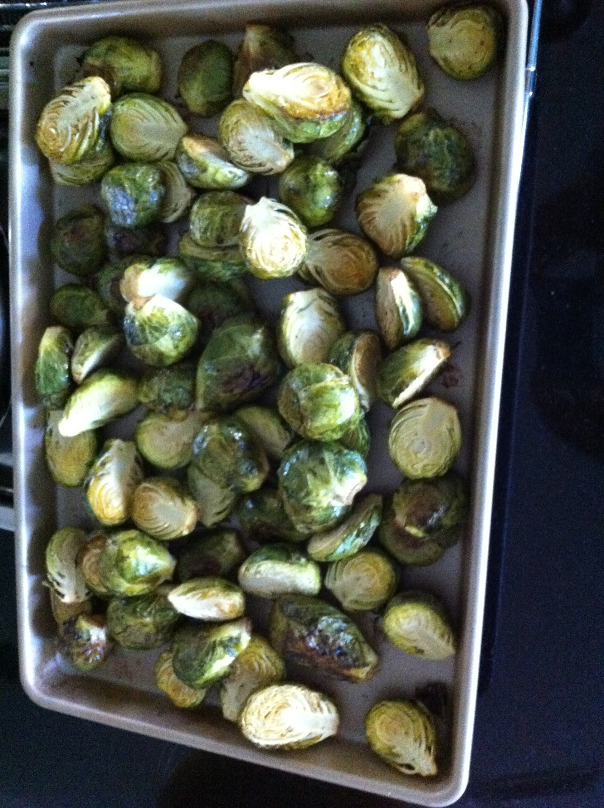 Oven Roasted Brussel Sprouts with Truffle Oil. Naturally gluten-free.